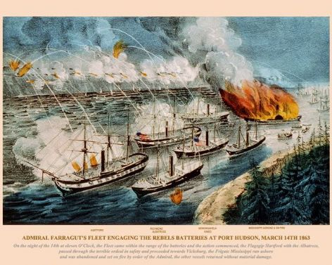 Fine art print of the American Civil War of the Admiral Farragut's Fleet engaging the Rebels Batteries at Port Hudson, March 14th 1863